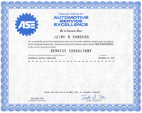 ASE Certified Service Consultant